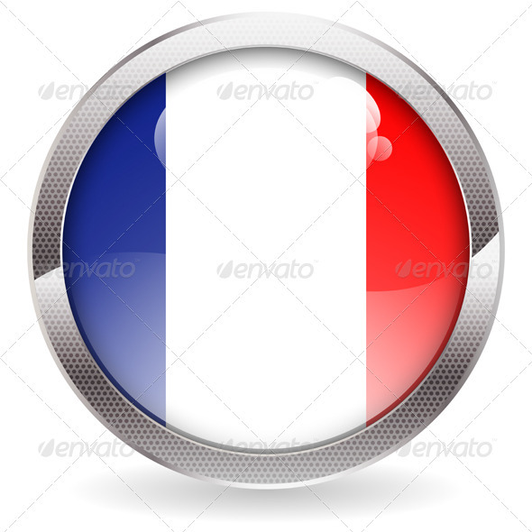 Gloss Button with French Flag - Web Technology