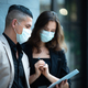 business people meeting with mask to prevent the spread of the virus covid-19 - PhotoDune Item for Sale
