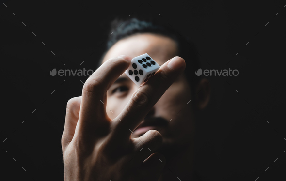 business person throw the dice, business gambling game concept - Stock Photo - Images