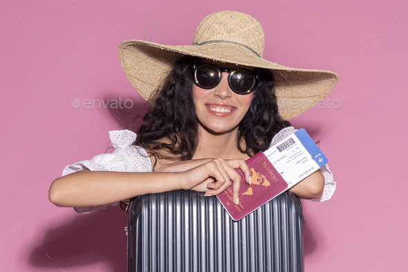 Happy woman ready for her summer trip - Stock Photo - Images