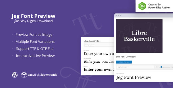 Jeg Font Preview - Easy Digital Downloads Extension WordPress Plugin