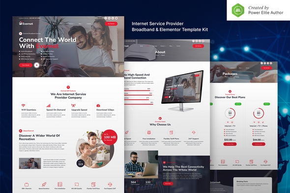 Evernet – Broadband & Internet Service Provider Elementor Template Kit