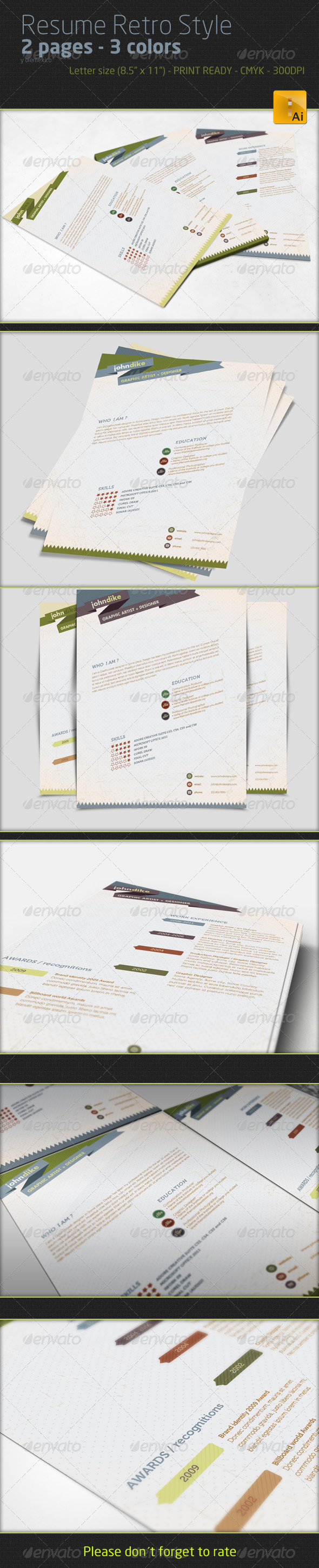 Professional Resume - Retro Style - Resumes Stationery
