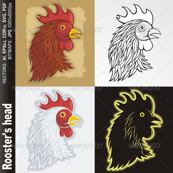 Rooster's head - Animals Characters