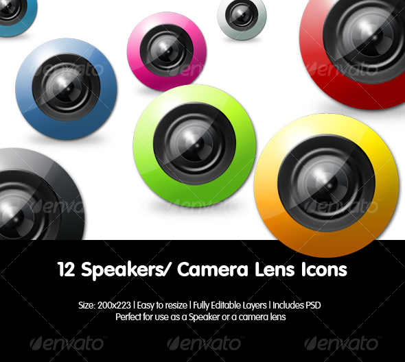 Camera Lens Icons / Speaker Icons - Technology Icons