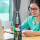 Asian woman student happy in class online learning - PhotoDune Item for Sale