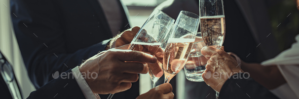 Business people making a toast at an office party - Stock Photo - Images