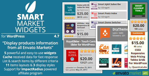 Smart Market Widgets - Plugin for WordPress and Envato Market - Preview Image