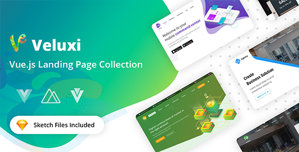 Extraordinary Veluxi - Vue JS Landing Page Collection