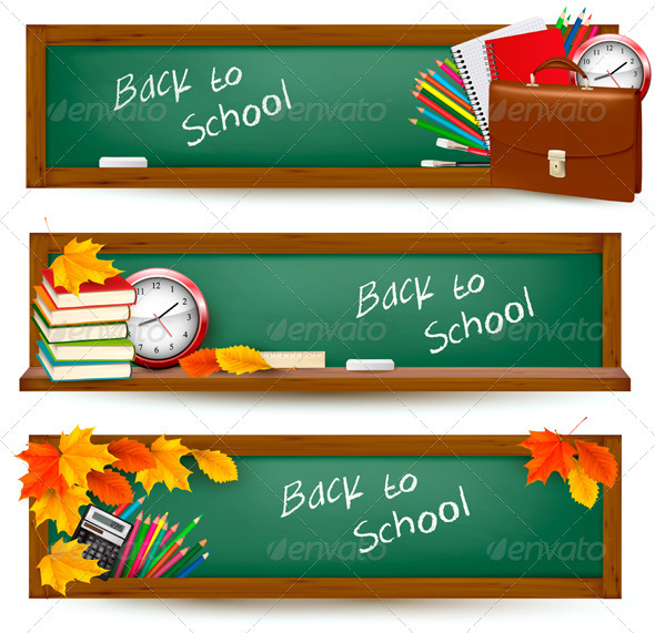 Set of back to school banners  Vector  - Borders Decorative