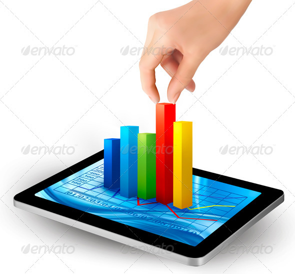 Tablet screen with graph and a hand  Vector  - Concepts Business