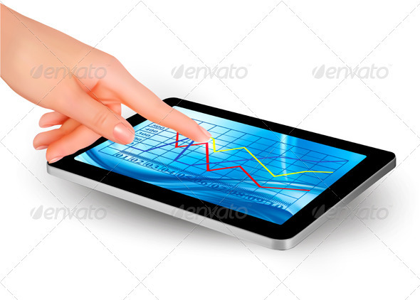 Tablet screen with graph and a hand  Vector  - Computers Technology