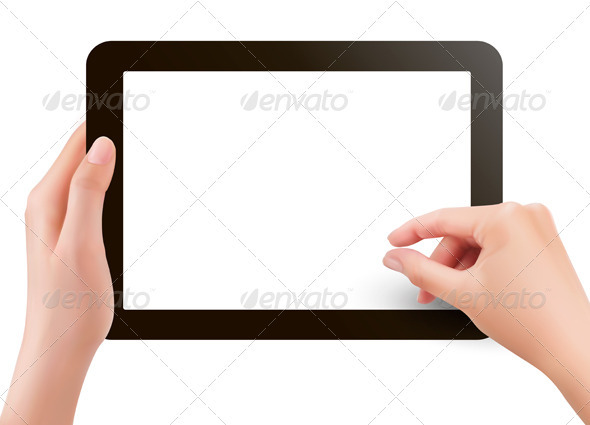Hands holding digital tablet pc  Vector illustrati - Computers Technology