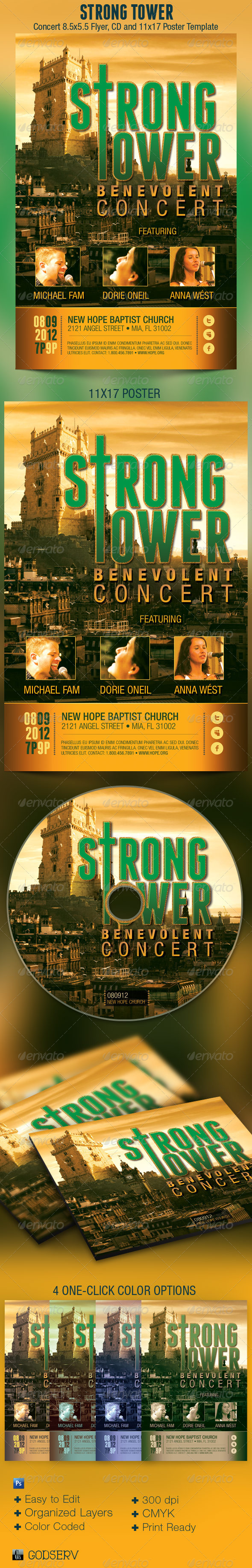 Strong Tower Church Flyer Poster CD Template - Church Flyers