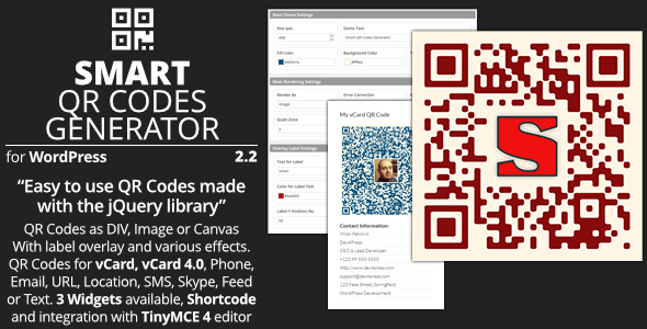 Smart QR Codes Generator - Plugin for WordPress - Preview Image