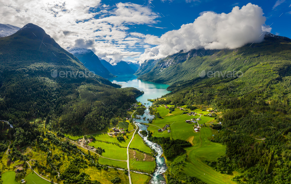 Beautiful Nature Norway natural landscape. lovatnet lake Lodal valley. - Stock Photo - Images