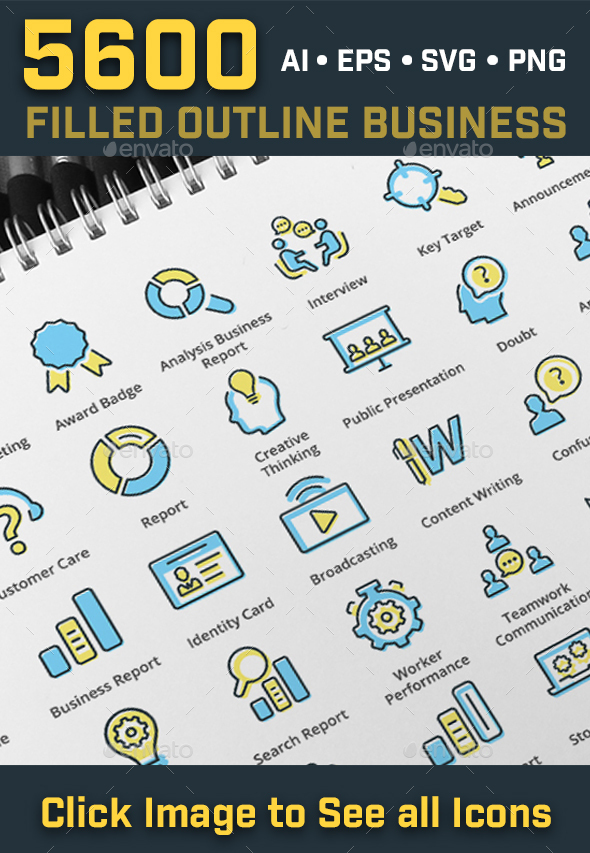 5600 Filled Outline Seo Business Icons