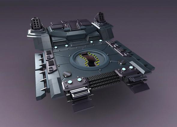Science Fiction Strobe work platform capsule cabin deck