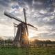 beautiful sunrise behind Dutch windmill - PhotoDune Item for Sale