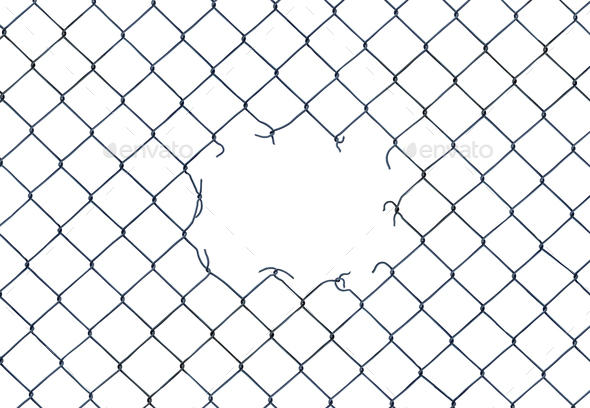 Hole In A Chain-Link Fence - Stock Photo - Images