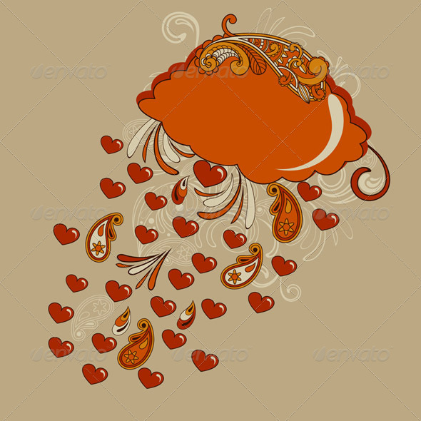Vector Autumn Hearts Rain - Valentines Seasons/Holidays