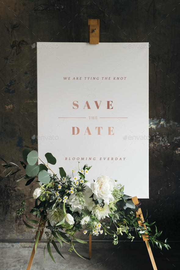 Wedding poster mockup with beautiful white flowers - Stock Photo - Images