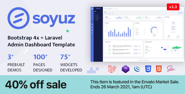 Awesome Soyuz - Bootstrap 4x + Laravel Minimal & Clean Admin Template