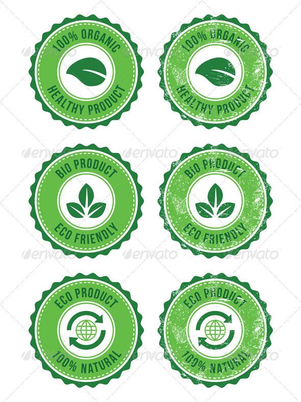 Green 100% Organic Natural ECO Retro Labels - Health/Medicine Conceptual