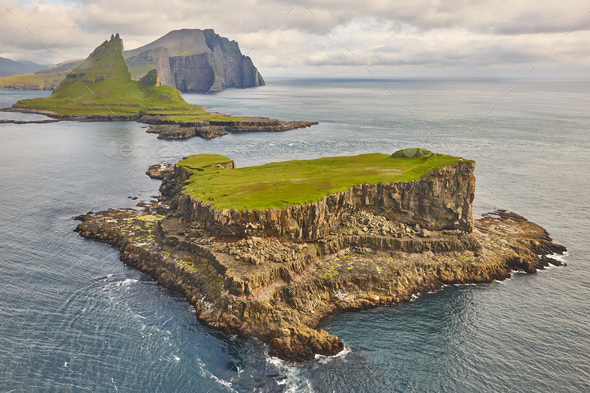 Faroe islands dramatic coastline viewed from helicopter. Vagar area - Stock Photo - Images