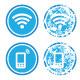 Wifi internet zone blue vintage labels set - GraphicRiver Item for Sale