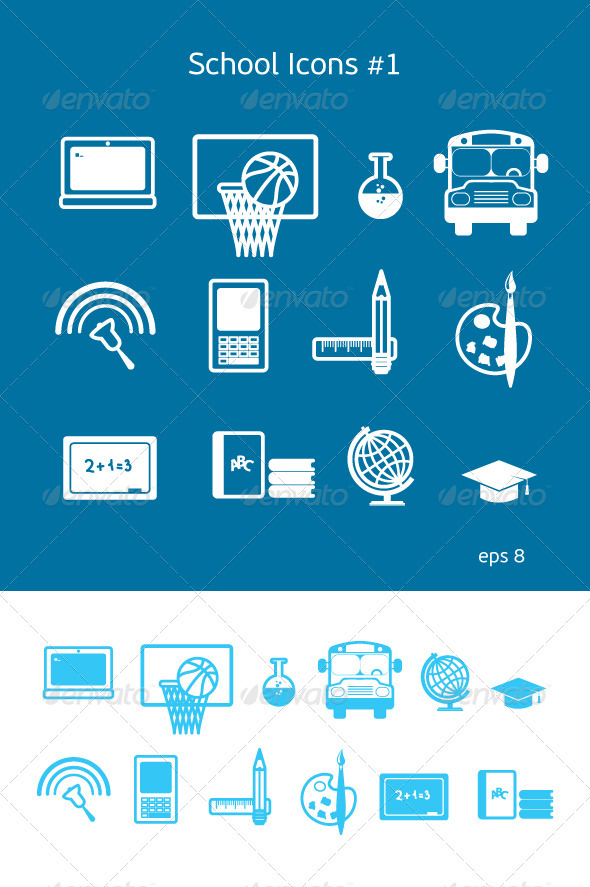 School and Education Icons Set #1 - Decorative Symbols Decorative