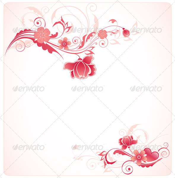 Background with Red Flowers - Backgrounds Decorative