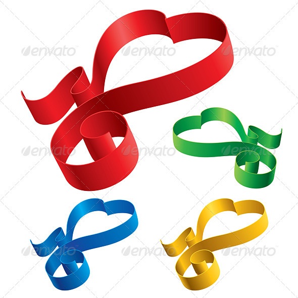 Simple ribbons hearts - Decorative Symbols Decorative