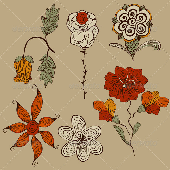 Vector Floral Bizarre Design Elements - Decorative Symbols Decorative
