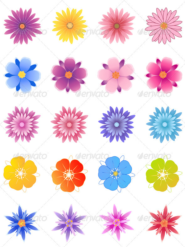 Set of Flowers - Decorative Symbols Decorative
