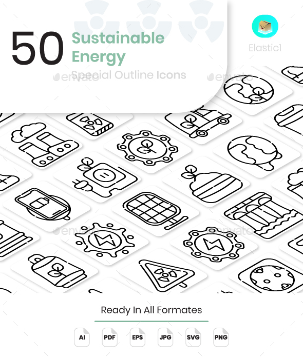 Sustainable Energy Outline Icons