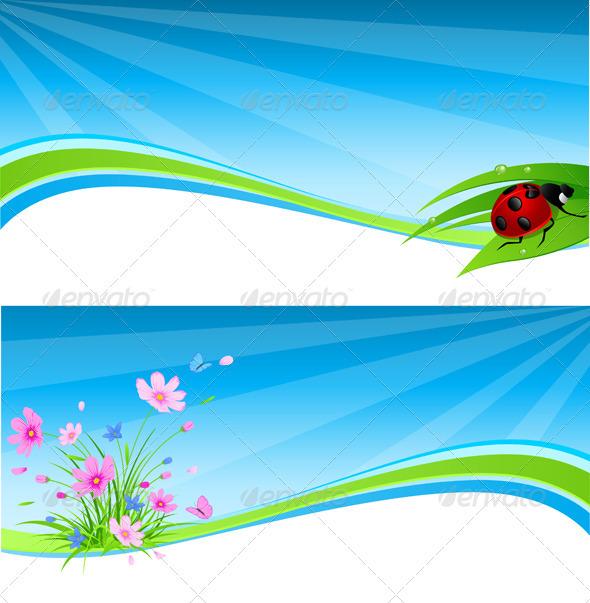 Blue Spring Banner - Backgrounds Decorative