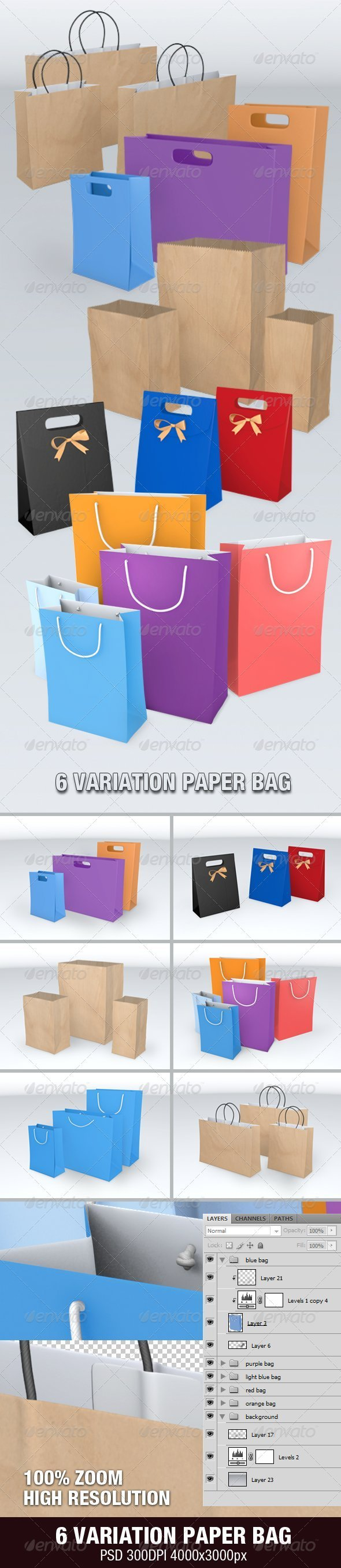 6 Variation Paper Bag - Objects 3D Renders