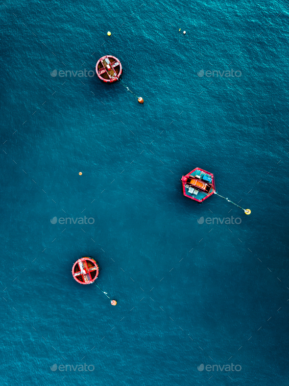 Aerial view of Blue Sea surface with buoys - Stock Photo - Images