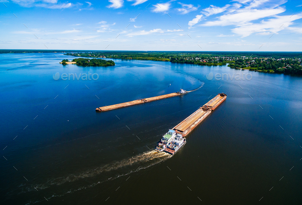 Aerial view of Barge or offshore vessel with cargo on the river. - Stock Photo - Images