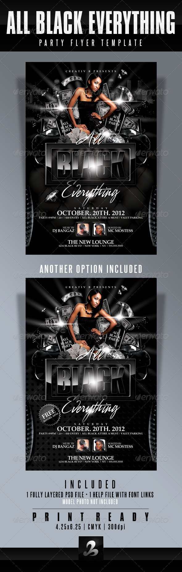All Black Everything Party Flyer Template - Clubs & Parties Events