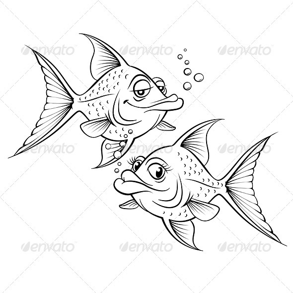 Two drawing cartoon fish - Animals Characters