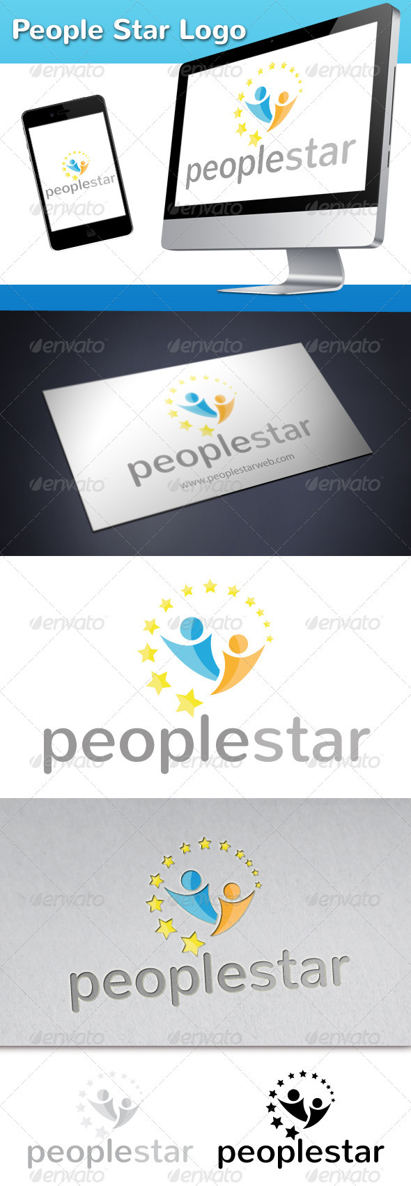 People Star Logo - Humans Logo Templates
