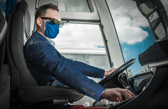 Bus Coach Driver in a Mask Preparing For the Road - Stock Photo - Images