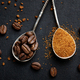 Coffee in different spoons on dark background - PhotoDune Item for Sale