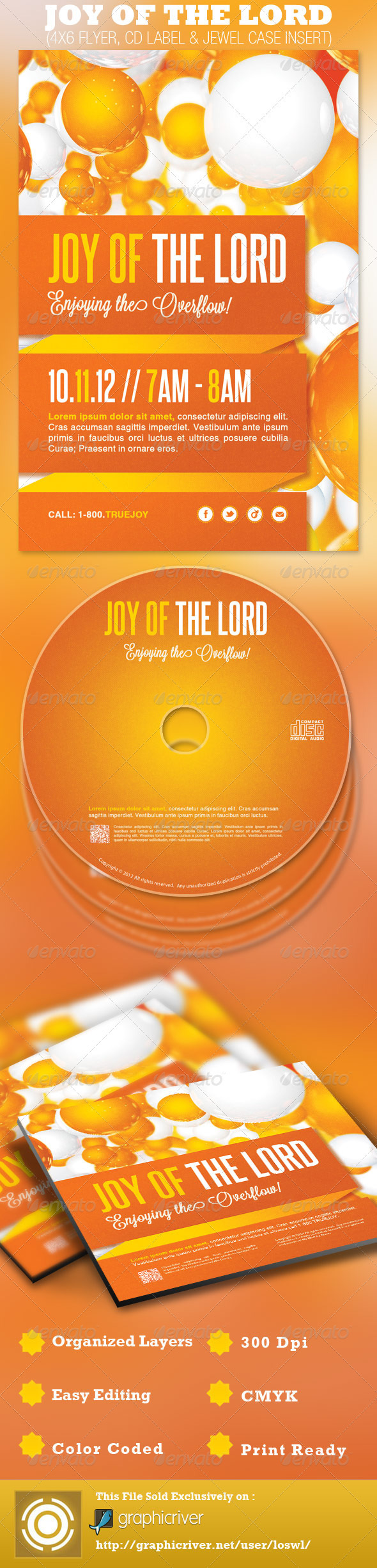Joy of the Lord Church Flyer and CD Template  - Church Flyers