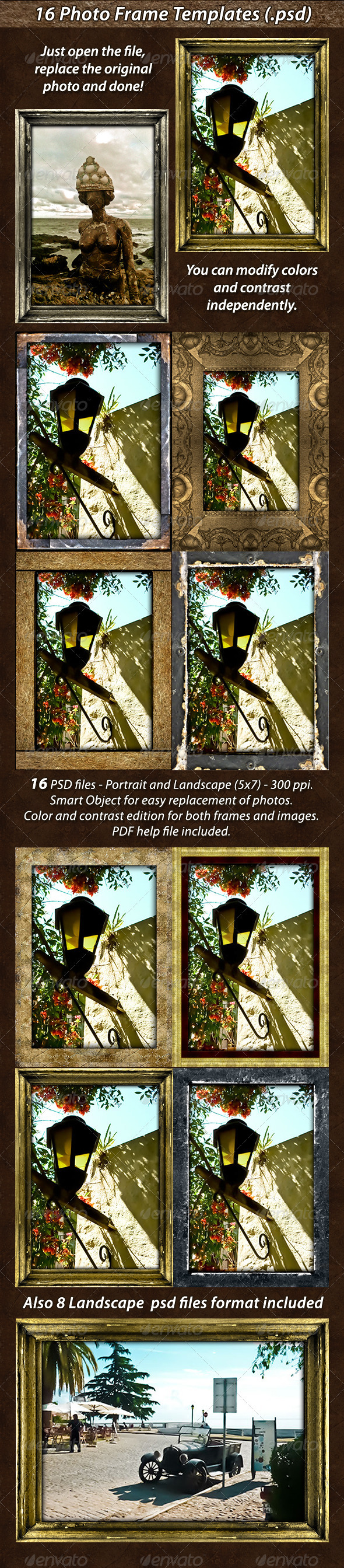16 Photo Frame Templates Pack - Artistic Photo Templates