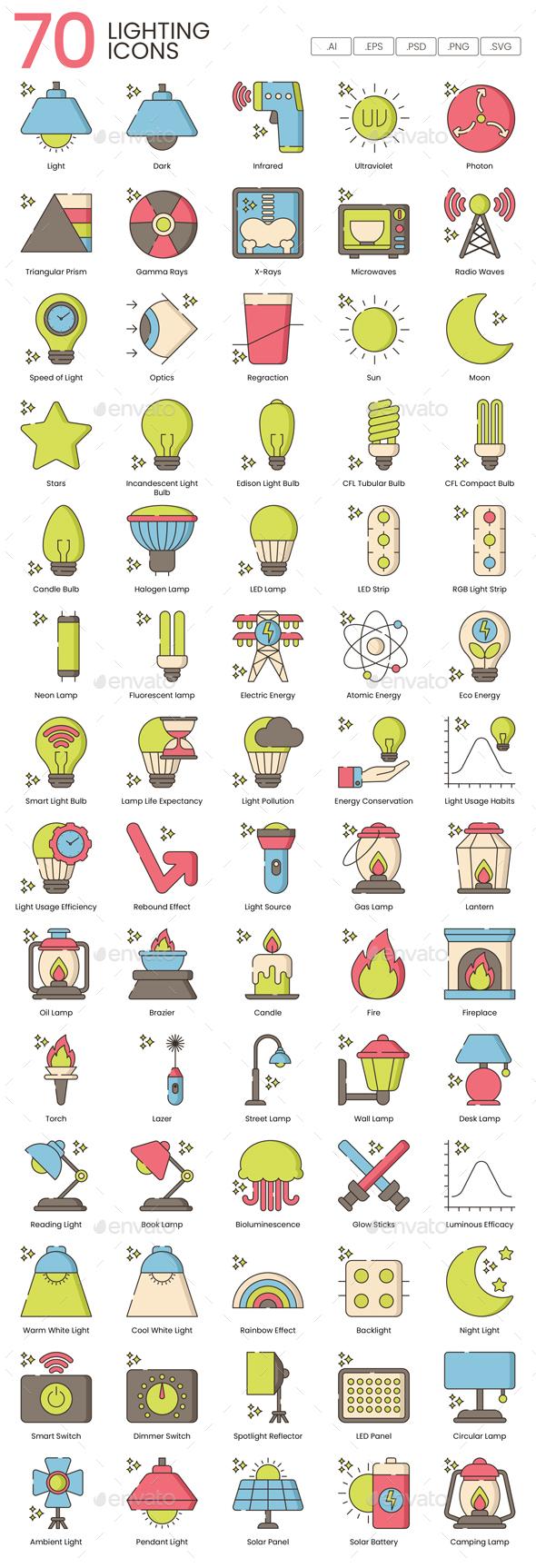70 Lighting Icons   Hazel Series