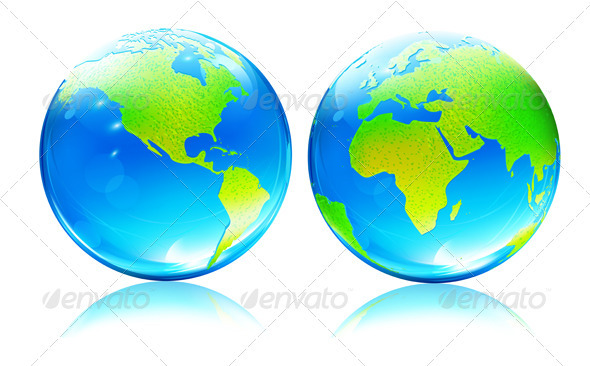 Glossy earth map globes - Nature Conceptual