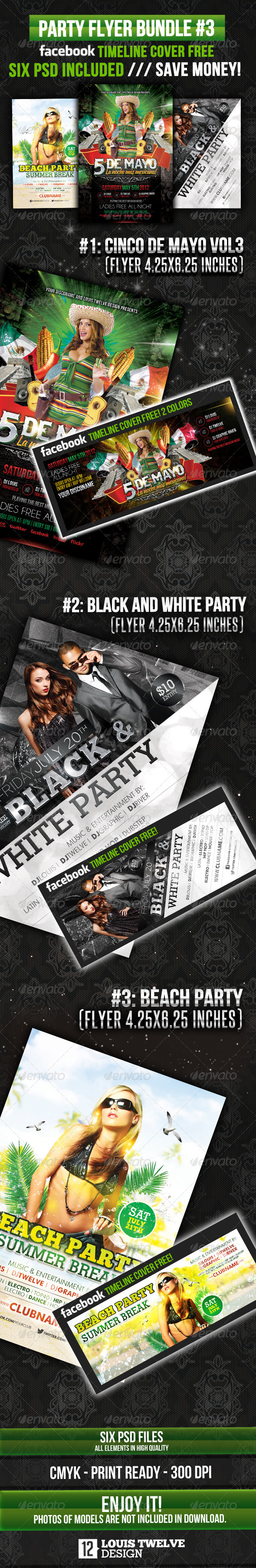 Party Flyer Bundle 03 + Facebook Cover - Clubs & Parties Events